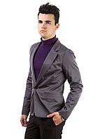 Мужской стильный пиджак приталенный темно-серый