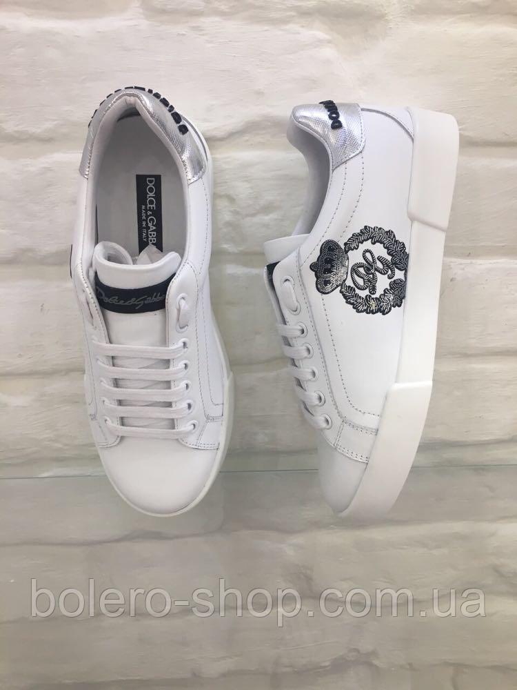 Кеды женские Dolce Gabbana белые кожаные