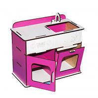 Игрушечная деревянная кухня Б2 бело-розовая