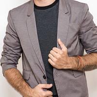 Мужской пиджак на одной пуговице, рукав 3/4 серый