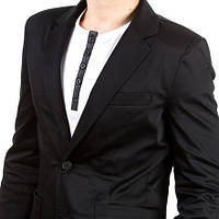 Мужской пиджак под джинсы приталенный черный
