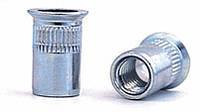 Клепальная гайка М6 стальная рифлёная, потайной бортик
