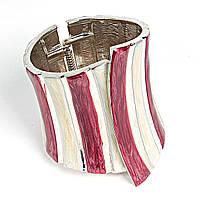 [6см] Браслет женский, широкий, с дизайном из белых и красных вертикальных полос