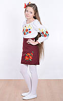 Детская юбка вышитая гладью и украшенная красным кантом