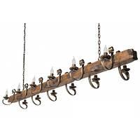 Люстра из дерева Балка - Старая - Кованая 12 ламп Старая Бронза, Дерево Состаренное темное