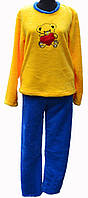 Пижама махровая желтая кофточка и синие штанишки