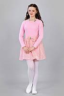 Детское платье с бантом нежного розового цвета