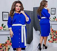 Легке літнє жіноче плаття на гудзиках під пояс кольору електрик. Арт-6411/51, фото 1
