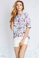 Асимметричная блуза цветы