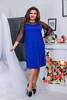 Романтическое женское платье из дайвинга прямого кроя рукава из сетки цвета электрик. Арт-6412/51, фото 1