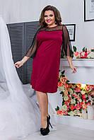 Бордове романтичне жіноче плаття з дайвінгу прямого крою рукава з сітки. Арт-6412/51, фото 1
