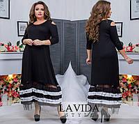 Чорне ошатне видовжене жіноче плаття зі вставкою з сітки білого кольору. Арт - 6413/51, фото 1