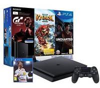 """Игровая консоль Sony PlayStation 4 Slim 1TB + Gran Turismo Sport + Uncharted """"Потерянное детство"""" + Knack2 + FIFA18"""
