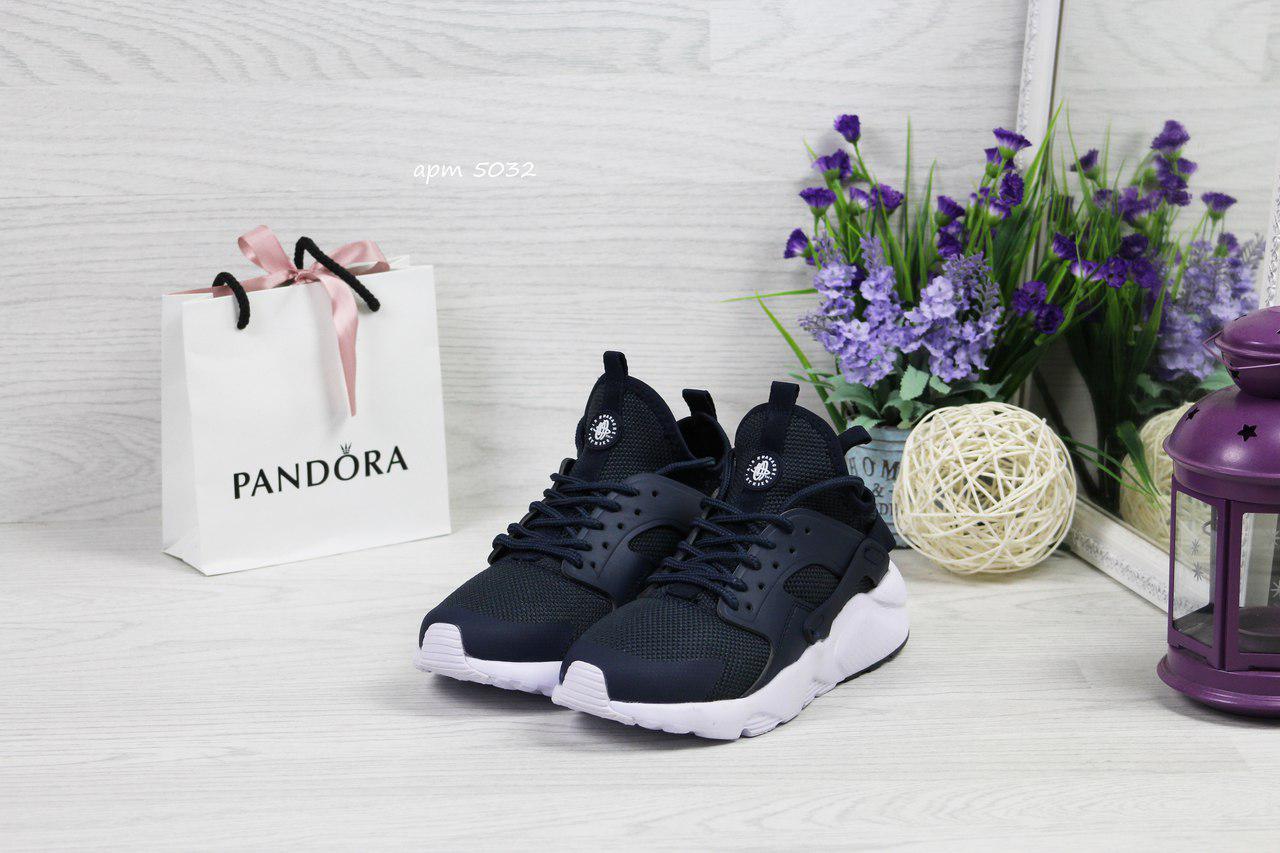 Женские кроссовки Nike Huarache,темно синие с белым