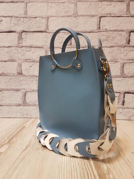 Оригинальная сумка из натуральной кожи, голубая матовая 1710