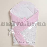 """Летний конверт на выписку """"Нежные звездочки"""" бело-розовый, фото 1"""