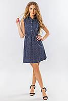 Платье-рубашка без рукавов в мелкий цветочек на темно-синем, фото 1