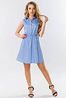 Платье-рубашка без рукавов в мелкий цветочек на голубом, фото 1