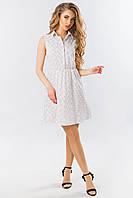 Платье-рубашка без рукавов в мелкий цветочек на белом, фото 1