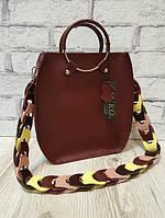 Оригинальная сумка из натуральной кожи, марсала матовая 1710, фото 1