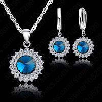 Набор украшений с кристаллами, покрытый серебром