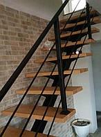 Лестница в стиле лофт. Металло-каркас лестницы на центральном косоуре, фото 1