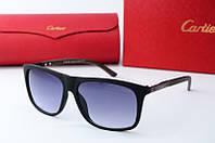 Солнцезащитные очки прямоугольные Cartier черные с коричневым, фото 1