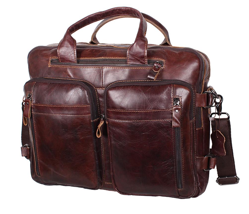 338bc68a4e5f Кожаная мужская сумка через плечо PRE1710 коричневая для документов А4  ноутбука 39х31см - Интернет-магазин