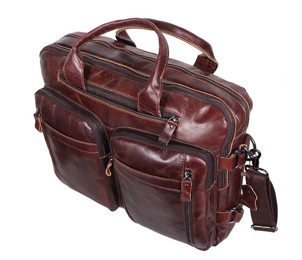 f3b1d5e49724 Кожаная мужская сумка через плечо PRE1710 коричневая для документов А4  ноутбука 39х31см, ...
