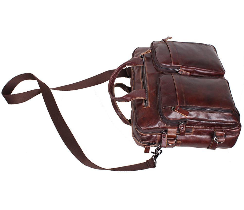 de8cb4c1a85b ... Кожаная мужская сумка через плечо PRE1710 коричневая для документов А4  ноутбука 39х31см, фото 10