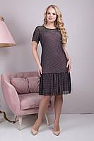 Вечернее женское платье в горошек Анет (48-54)черный