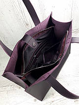 282 Натуральная кожа фиолетовая Сумка-пакет на подкладке, баклажановая Сумка-шоппер кожаная сумка фиолетовая, фото 2