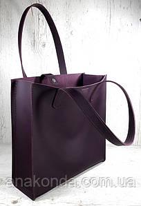 272 Натуральная кожа,фиолетовая Сумка-пакет с мешком на молнии, баклажановая Сумка-шоппер кожаная сумка фиолет