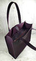 282 Натуральная кожа фиолетовая Сумка-пакет на подкладке, баклажановая Сумка-шоппер кожаная сумка фиолетовая, фото 3