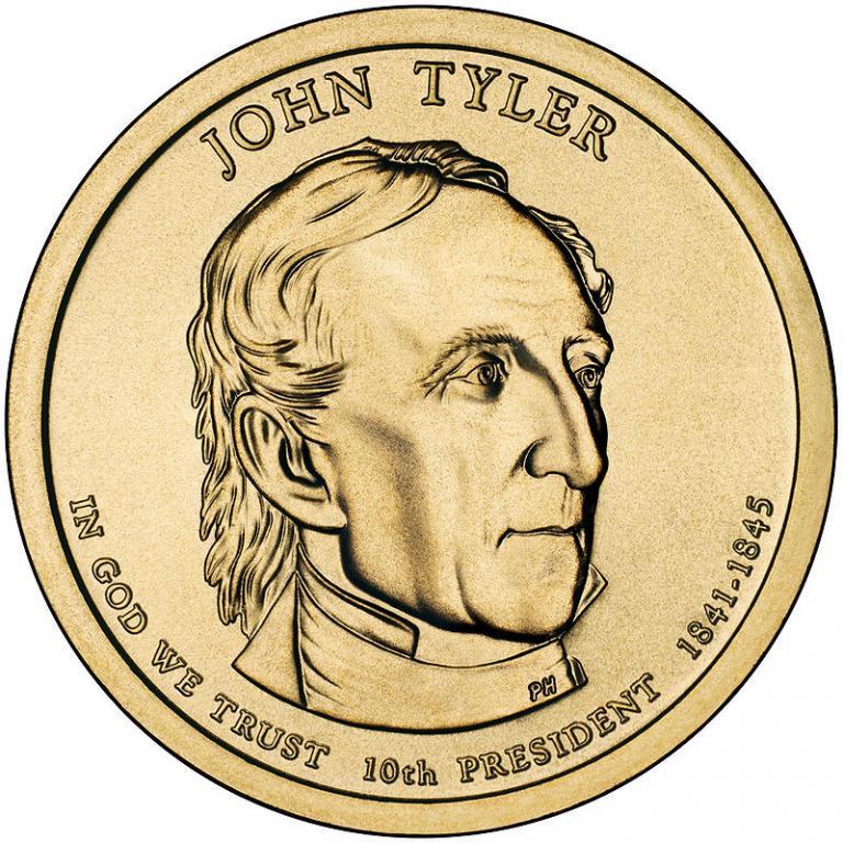 США 1 доллар 2009, 10 президент Джон Тайлер (1841-1845)