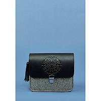 """Бохо-сумка """"Лилу"""" фетр+кожа графит, фото 1"""