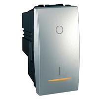 Выключатель кнопочный проходной с подсветкой Алюминий Unica Schneider, MGU3.162.30S