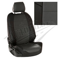 Чехлы на сиденья Toyota Yaris II Hb c 05-11г. (Экокожа Черный   Темно-серый)
