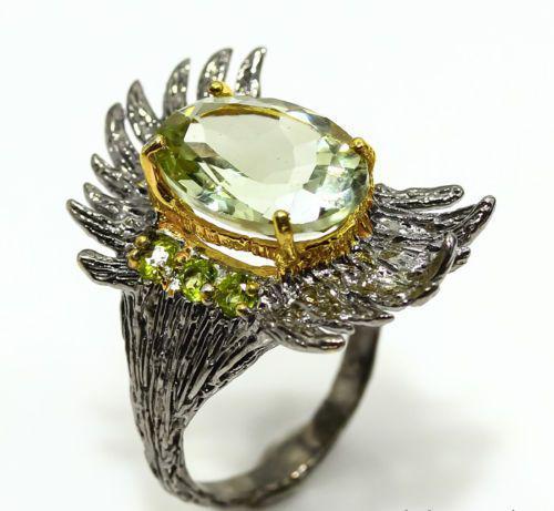 Кольцо с Зеленым Аметистом и Перидотом (Хризолитом)