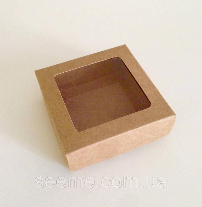 Коробка із крафт картону з віконцем, 80x80x30 мм.