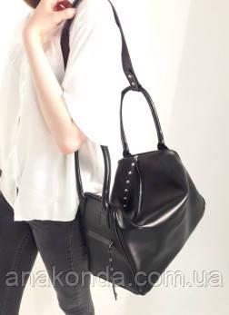 141 Натуральная кожа, объемная сумка-трансформер женская спортивная сумка кожаная дорожная черная сумка черная