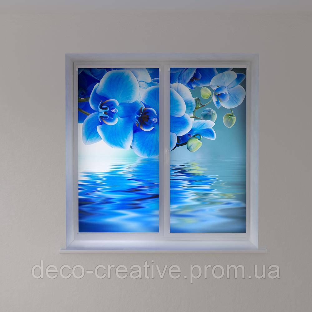 Рулонные шторы с фотопечатью голубая орхидея