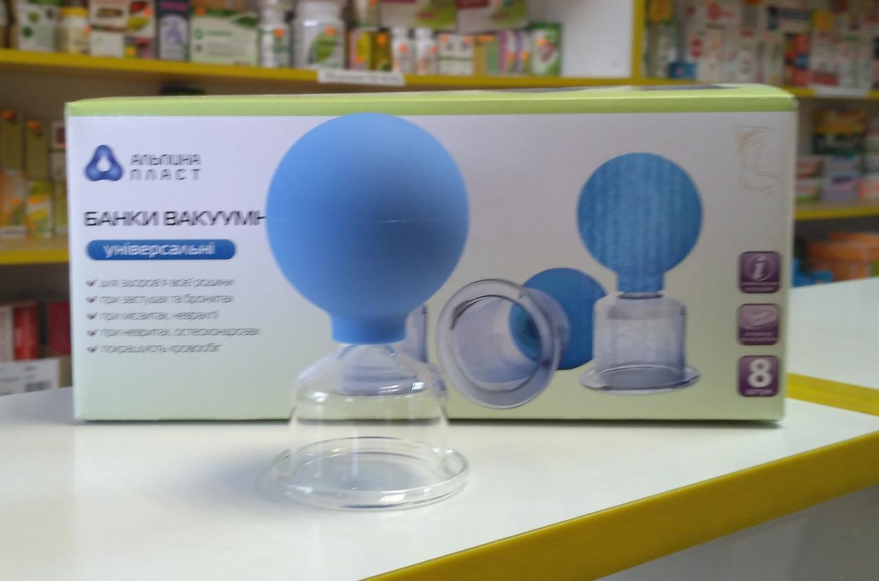 Вакуумная банка антицеллюлитная полимерно-стеклянная 1 шт  Альпина