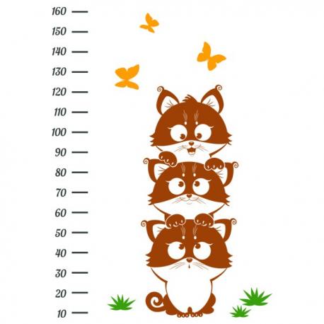 Детский ростомер настенный Funny Kittens винил, фото 2