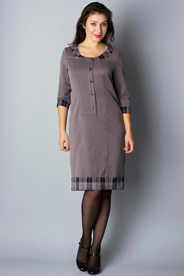 Платье-футляр с декольте и клетчатой отделкой П131