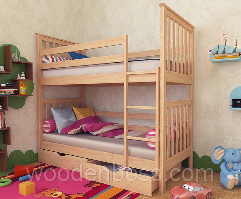 """Кровать двухъярусная детская подростковая от """"Wooden Boss"""" Ромео (спальное место 80х160)"""