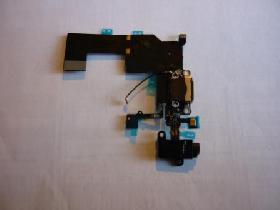 Шлейф Apple IPhone 5C black с коннектором зарядки и наушников, микрофо