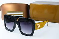 Солнцезащитные очки Gucci квадратные золотые, фото 1