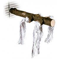 Жердочка для птиц Trixie натуральное дерево с канатами 20 см/23 мм