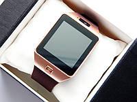 Умные часы (Smart Watch) Smart DZ09, прямоугольной формы, золотистого цвета с коричневым ремешком